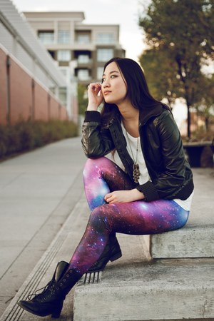 Black Milk Clothing leggings - Steven Madden boots - Suzy Shier jacket