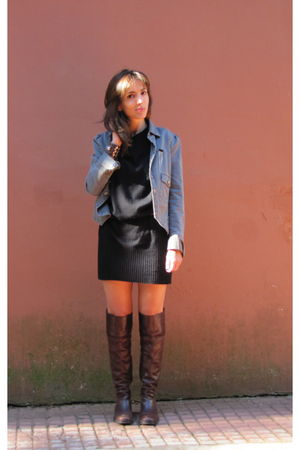 gray Jazmin Chebar jacket - black maria cher dress - brown Uma boots