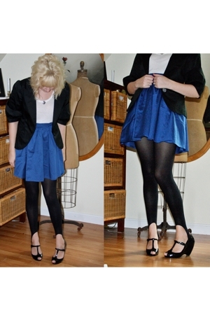 H&amp;M skirt - bcbg max azria blazer - f21 t-shirt - tights - Melissa shoes