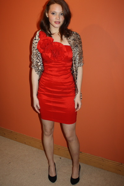 red Republic dress - bronze leopard print Zara blouse - black H&M heels