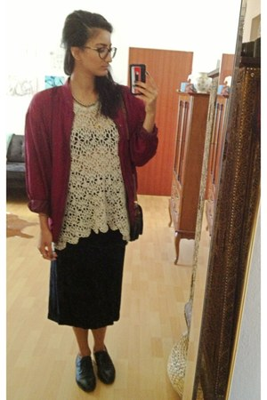 maroon silk jacket - eggshell crochet shirt - black velvet skirt
