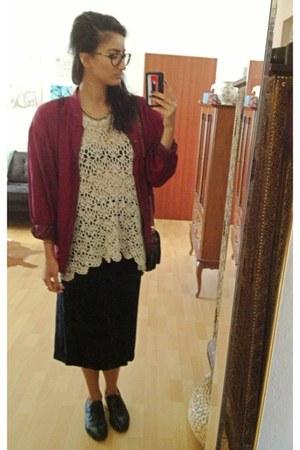 maroon silk jacket - eggshell crochet shirt - black velvet skirt