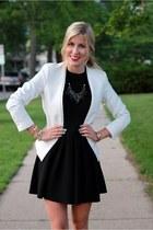 black kate spade dress - off white Zara blazer - light pink Zara bag