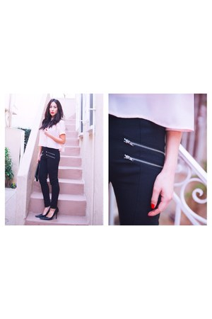 black zipper H&M pants - light pink cropped stella & jamie blouse