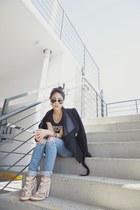 H&M jeans - stella & jamie jacket - Moschino t-shirt - Alexander Wang sandals