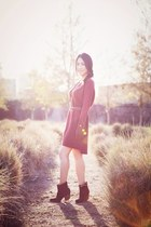 brown booties boots - crimson sweater dress vince dress