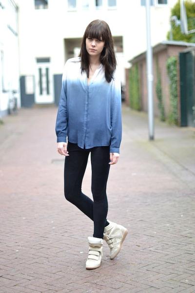Zara blouse - River Island pants - Isabel Marant sneakers