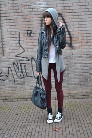 leather Zara jacket - Zara leggings - asos bag - allsaints cardigan
