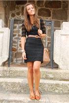 brown Bimba&Lola purse - brown vintage shoes - black H&M dress