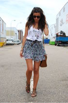 brown BLANCO shoes - brown Bimba & Lola bag - white Stradivarius t-shirt