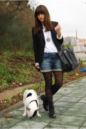 black pull&bear blazer - black H&M tights - blue pull&bear shorts - white H&M ti