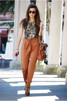 dark khaki BLANCO t-shirt - brown Zara bag - burnt orange BLANCO pants