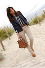 brown Bimba & Lola bag - brown vintage shoes - blue Zara jacket