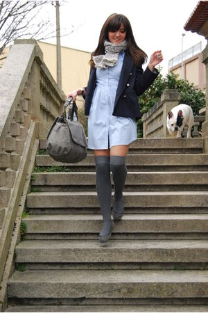 blue Zara blazer - gray Calzedonia tights - gray Zara purse - blue H&M dress - g