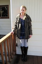 Forever21 coat - Wet Seal dress - Wet Seal leggings - Value Village accessories