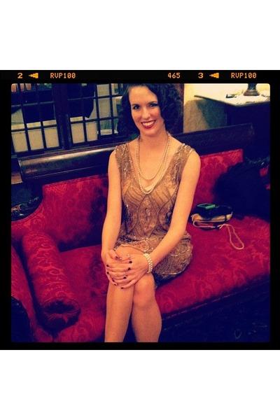 gold beaded flapper unique vintage dress
