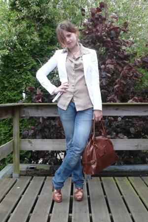 beige blouse - brown River Island shoes - blue Zara jeans - white Mexx jacket