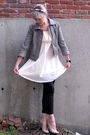 Gray-loft-jacket-pink-h-m-blouse-black-j-crew-pants-black-adidas-accessori