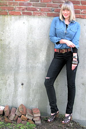 brown clogs Target shoes - black Gap jeans - red H&amp;M belt