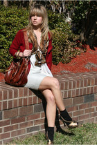 brick red Forever 21 cardigan - bronze vintage blouse - white Arden B dress - ta