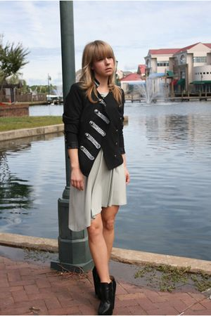 black Forever 21 jacket - green Arden B dress - black sam edelman boots