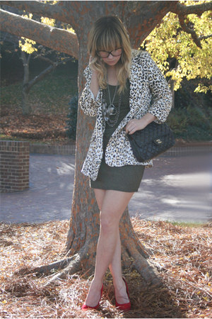 tan Mink Pink blazer - charcoal gray Old Navy dress - red shoes - black Chanel b