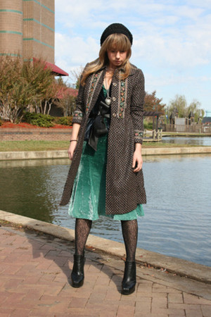 dark brown vintage coat - blue Arden B vest - green H&amp;M dress - black tights - b