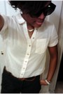 Button-down-h-m-shirt-belted-h-m-shorts-black-kiss-sunglasses-pearls-h-m-e