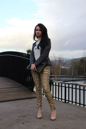 dark gray blazer - black Primark bag - gold pants - nude BLANCO pumps