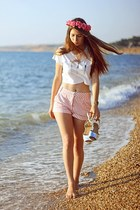 light pink shorts - off white top - silver Forever21 sandals