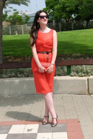 orange asos dress - silver Marni shoes - orange Medusa purse