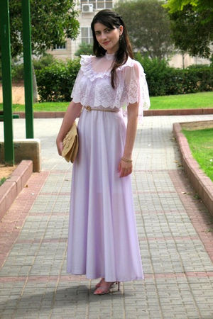 purple vintage dress - purple Jimmy Choo shoes - beige vintage bag