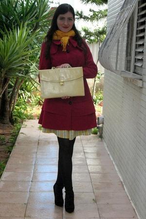 pink Ebay coat - yellow Zara dress - yellow thrift purse - black asos shoes