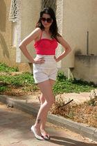 pink Jantzu swimwear - white shorts - white shoes