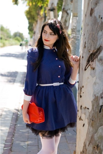 red Ebay bag - blue thrift dress - black petticoat Ebay skirt