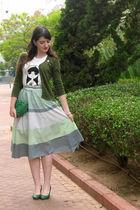 white Marc Jacobs shirt - blue vintage skirt - green Medusa purse
