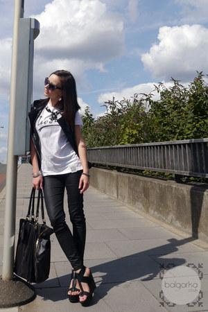 black coated jeggings Dorothy Perkins jeans - black tote Jane Norman bag