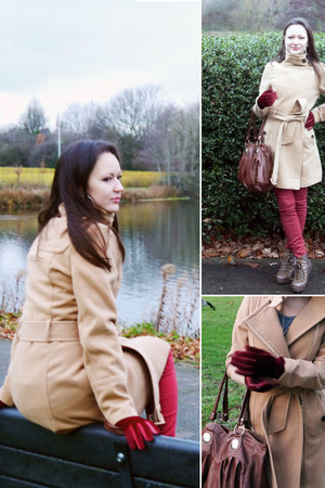 camel Sheinside coat - light brown ankle laced barratts boots
