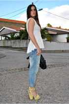 light yellow sandals yellow sandals - light blue boyfriend jeans light jeans