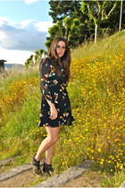 black gold black boots - black floral dress black dress