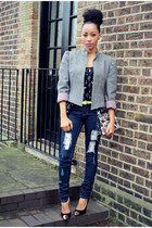 vintage jacket - Matalan shoes - Emilio Pucci bag - new look top