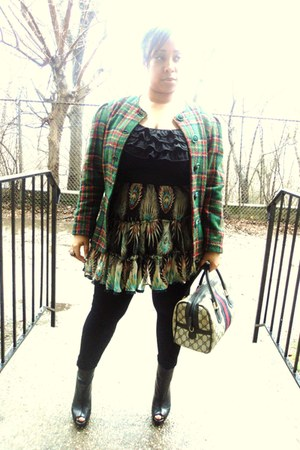 boots - dress - leggings - blazer - bag