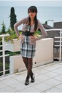 Pink-zara-cardigan-zara-dress-black-shoes-h-m-tights-black-belt