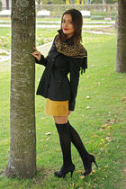 yellow H&M skirt - black Nuna Lia coat - black stockings - black Graceland shoes