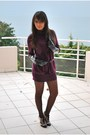 Purple-promod-dress-black-shoes-black-gloves-black-zara-belt-black-tight