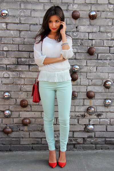 red Zara shoes - aquamarine Zara jeans - ruby red Mango bag