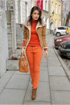 light brown Zara jacket - bronze Mango bag - carrot orange lindex pants