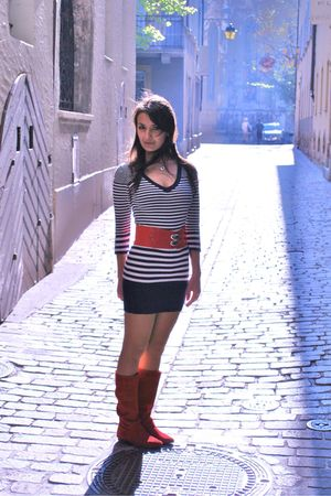 reserved dress - red Metro boots - red belt