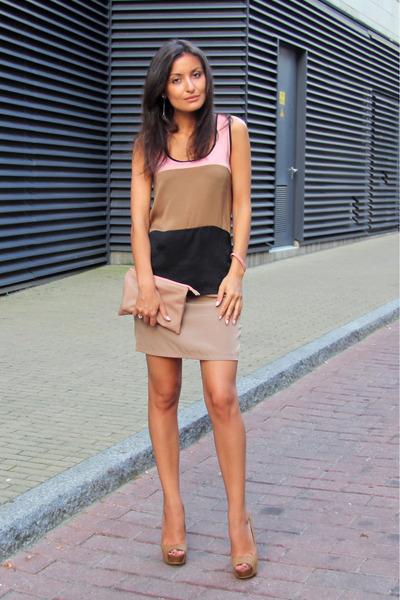camel Bershka pumps - nude Zara bag - light brown lindex top - tan Vila skirt