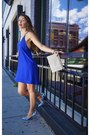 Blue-lucky-b-boutique-dress-ivory-lucky-b-boutique-purse